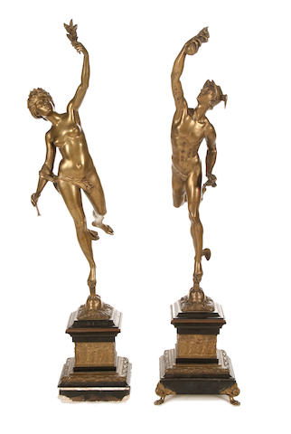 After Giambologna, Italian (1529-1608) A pair of late 19th century gilt bronze figures of Mercury and Fortuna