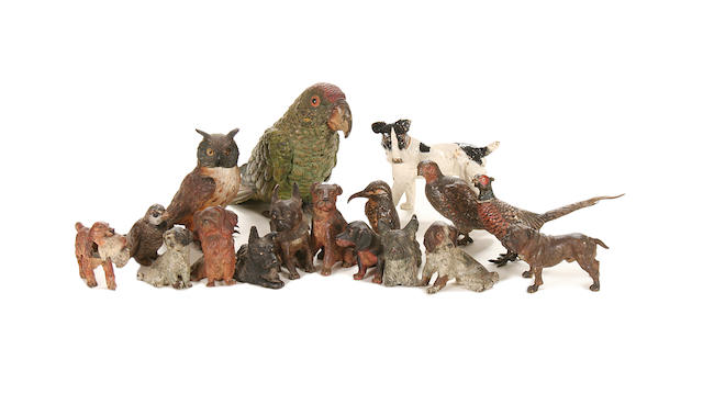 A collection of ten various late 19th century Viennese cold painted bronze models of animals