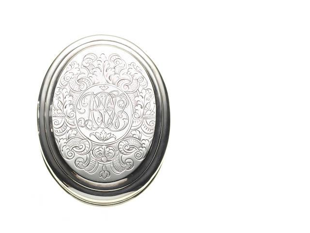 A Queen Anne silver tobacco box, no apparent makers mark, London 1708,
