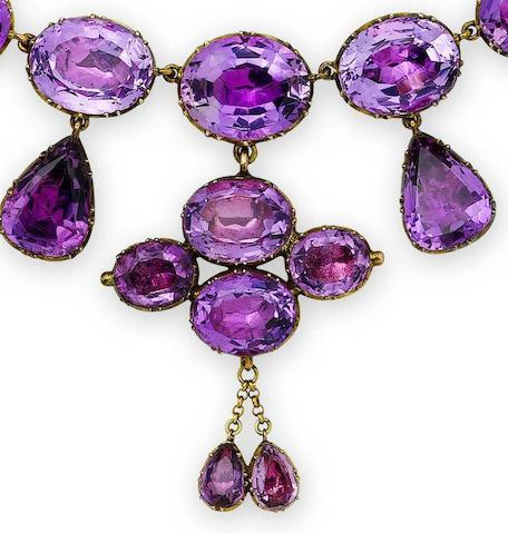 A 19th century amethyst necklace and a pair of amethyst and diamond earrings (2)