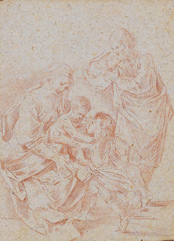 Circle of Simone Cantarini, il Pesarese (Oropezza 1612-1648 Verona) Holy Family with Saint John the Baptist 208 x 151 mm