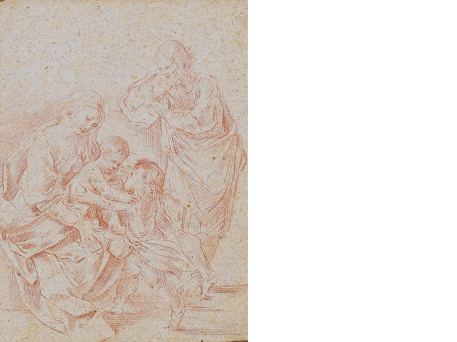 Simone Cantarini, il Pesarese (Oropezza 1612-1648 Verona) Holy Family with Saint John the Baptist 208 x 151 mm
