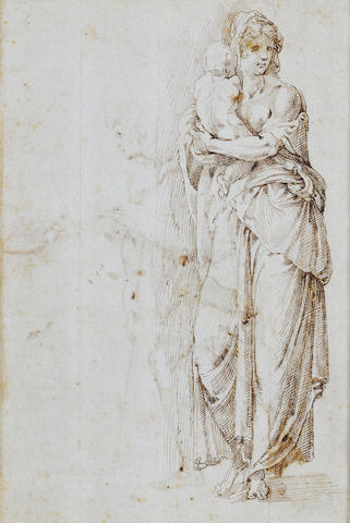 Florentine School, 16th Century A woman holding a child (recto); 230 x 153 mm