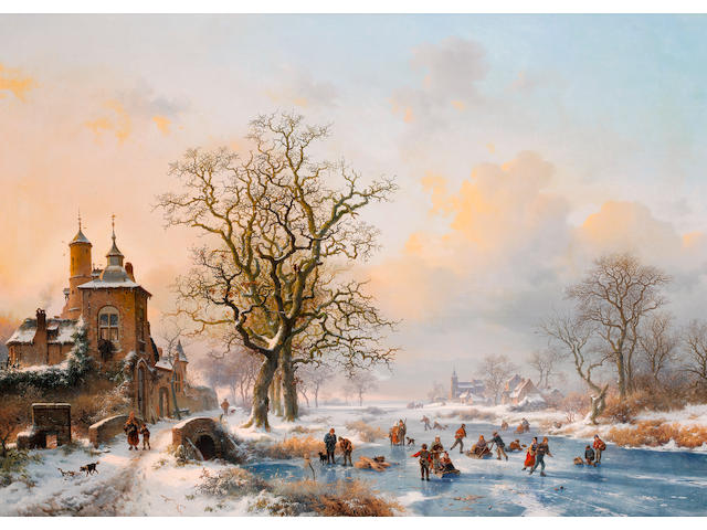 Frederik Marinus Kruseman (Dutch, 1816-1882) Winter landscape with skaters near a castle