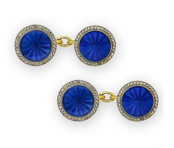 An enamel and diamond gentleman's dress set, by Cartier, and a mother-of-pearl and enamel dress stud, (2)