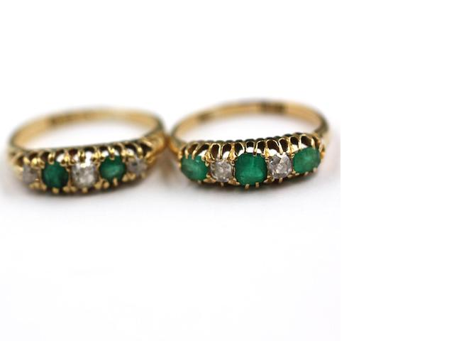 Two emerald and diamond rings (2)