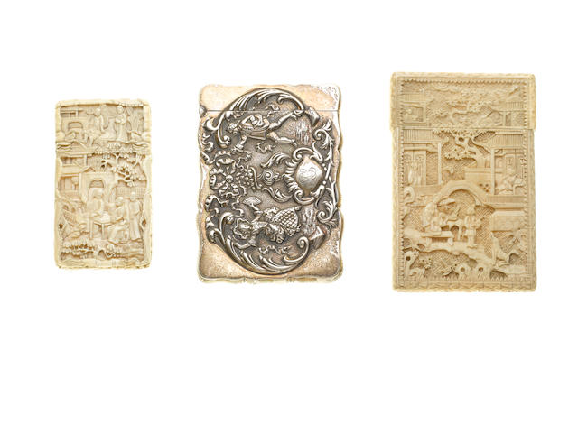 A 19th century Chinese export ivory card case,