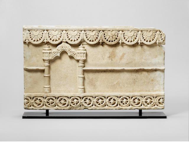 A Solanki white marble Architectural Panel Gujerat, Western India, 11th/ 12th Century