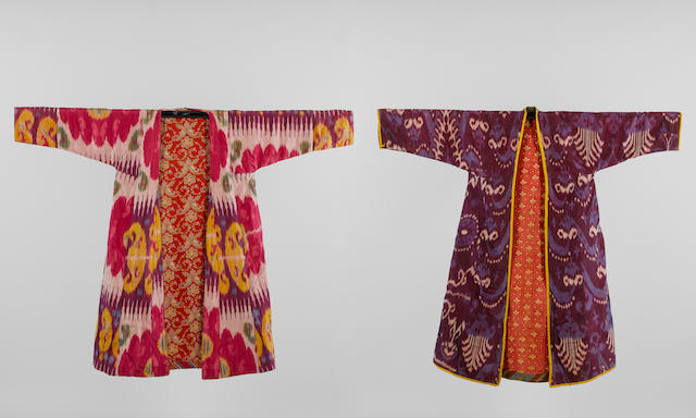 Two woven silk Ikat Robes Uzbekistan, late 19th/ early 20th Century(2)
