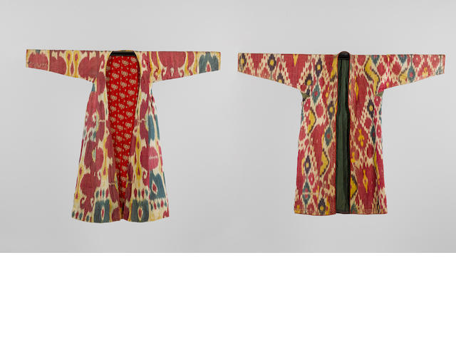 Two woven silk Ikat Robes Uzbekistan, 19th Century(2)