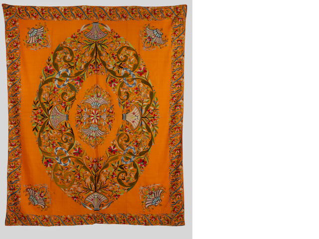 An Ottoman silk embroidered wool Panel Turkey, 19th Century