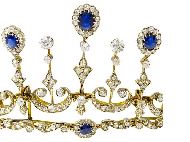 A late 19th century sapphire and diamond tiara/necklace combination,