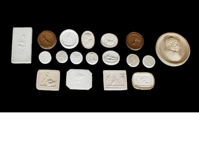 A large collection of unmounted 19th century Grand Tour plaster intaglios