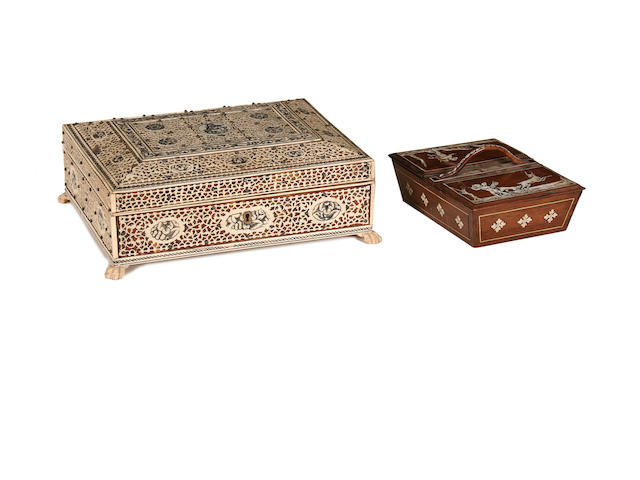 A late C19th/early C20th Indian bone box together with a small rosewood and ivory inlaid box
