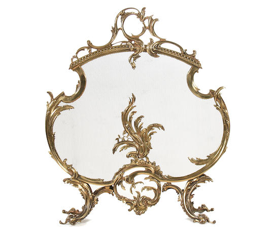 gilt brass fire screen