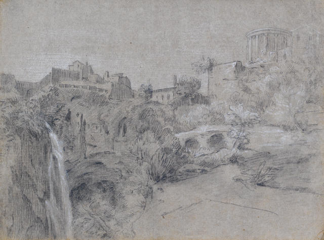 Attributed to Jean Michel Moreau le Jeune (French, 1741-1814) Album of studies: landscape drawings in and around Rome, figure sketches and various other sketches