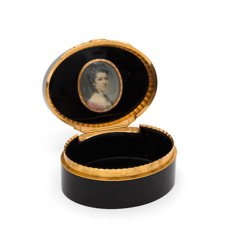 An 18th century tortoiseshell and gold portrait box, the miniature attributable to Richard Crosse (1741-1810),