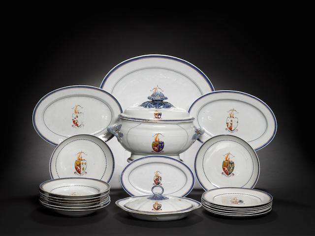 Part dinner service, enamelled with Drummond Arms, comprising: 1 tureen with lid, 30 Dinner plates, 29 soup bowls, 10 inch oval liner with odd lid, 2 round bowls, oval dish-platters - 1 x 18in, 1 x 16in, 2 x 13½in, 1 x 12in and 1 x 10in (71 including lids) Old chips/cracks and restoration