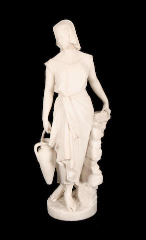 Professor G. Gambogi, Italian (fl. late 19th / early 20th century) A carved Carrara marble figure of a female water carrier