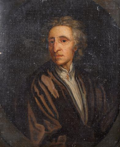 After Sir Godfrey Kneller, 18th Century Portrait of John Locke, bust-length, in a carved and gilt Lely style frame