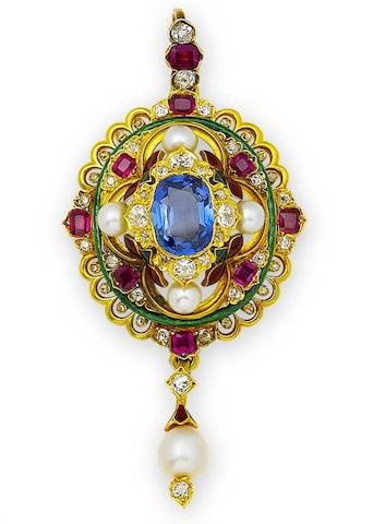 A gold, enamel and gem-set Holbeinesque pendant,