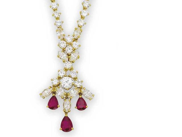 A ruby and diamond necklace, earring, bracelet and ring suite (4)