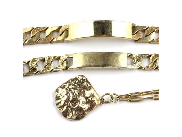 Two 9ct gold identity bracelets