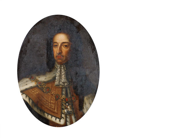 After Sir Godfrey Kneller, 18th Century Portrait of King William III, bust-length,