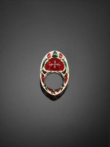 An Indian diamond-set enamelled gold Archer's Ring 19th Century or later