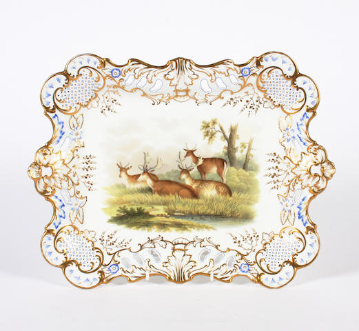 An English porcelain rectangular tray Circa 1845