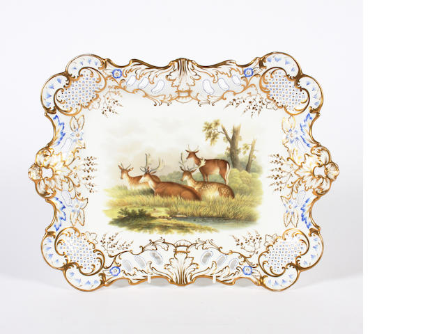 An English porcelain rectangular tray  19th Century.