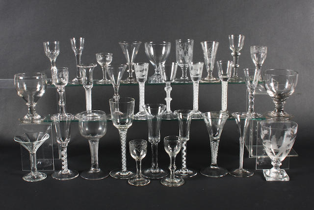 A collection of drinking glasses 18th Century and later.