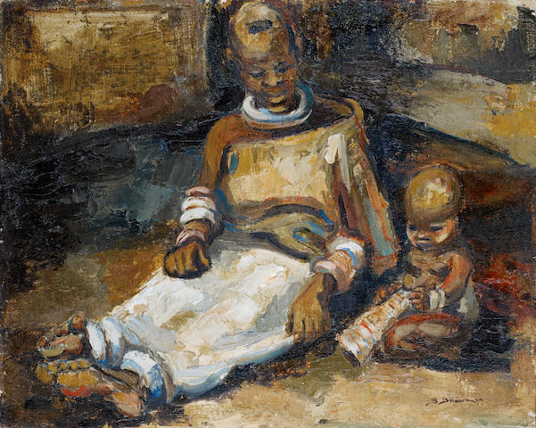 Stella Shawzin (South African, born 1923) Ndebele mother and child unframed