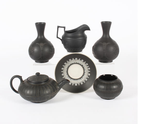 A group of black basalt wares 19th Century.