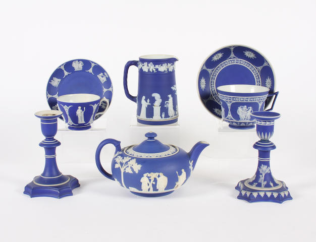A group of Wedgwood blue jasper wares 19th Century.