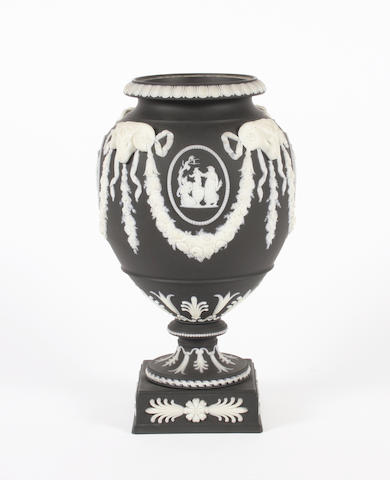A Wedgwood black basalt vase 19th Century.
