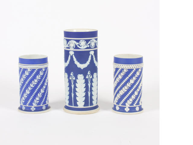 A pair of Wedgwood blue jasper cylindrical spill vases and another 19th and 20th Century.