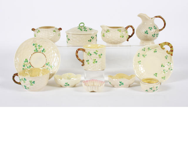 A group of Belleek items 19th and 20th Century.