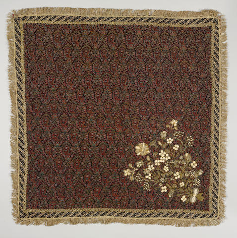 Three Qajar seed-pearl and metal-thread embroidered woven wool termeh Panels Persia, 19th Century(3)