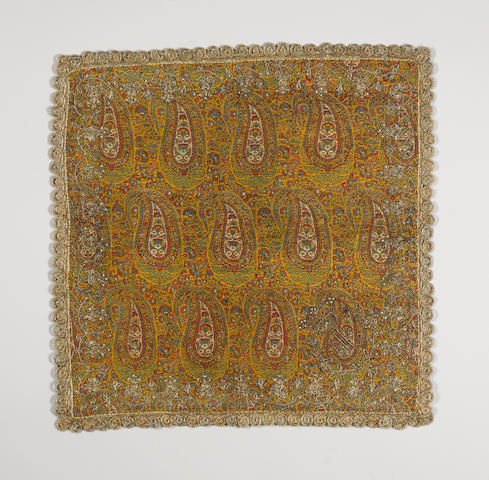 A group of seed-pearl and metal thread embroidered woven wool termeh Panels for the Qajar Market Persia and Kashmir, 19th Century(6)