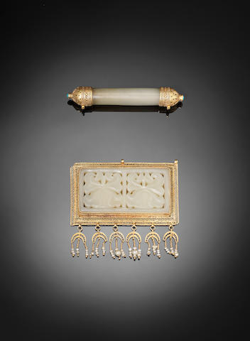 A gold-mounted carved jade Pendant and Amulet Persia and China, 19th Century(2)