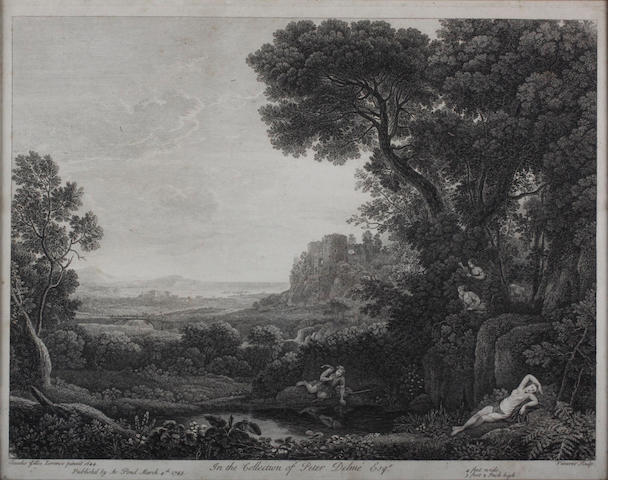 After Claude Gellée, called Claude Lorrain Landscape with Narcissus and Echo Etching and engraving, by Francois Vivares, on laid paper published 1743 by A.Pond