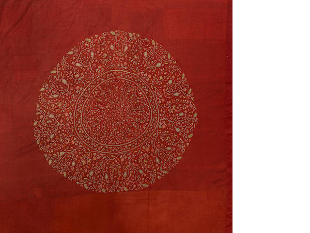 A very large silk embroidered woven wool Floor Covering Kashmir, circa 1850