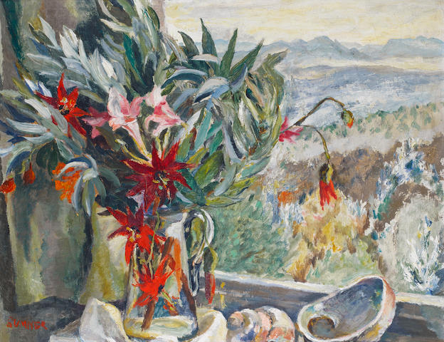 Maud Frances Eyston Sumner (South African, 1902-1985) A still life on a window ledge, Kirstenbosch