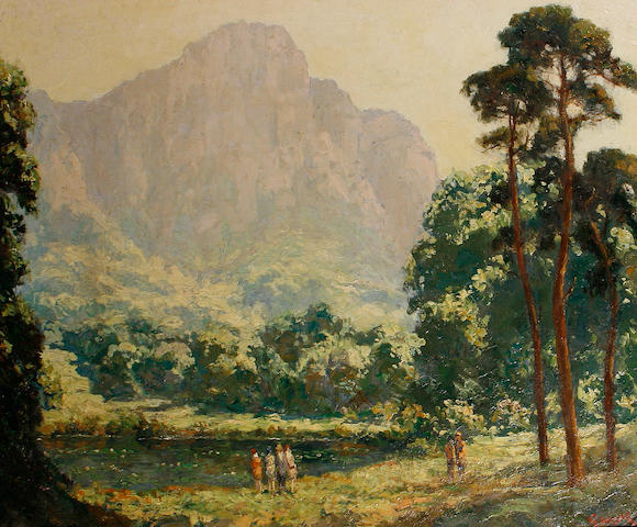 Edward Roworth (South African, 1880-1964) The lily pond, Kirstenbosch