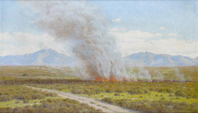Jan Ernst Abraham Volschenk (South African, 1853-1936) 'A Veld fire, Riversdale'
