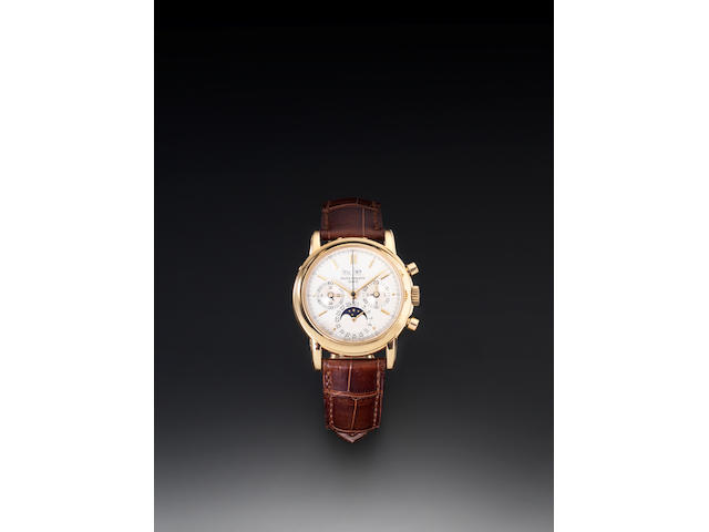 Patek Philippe. A fine and rare 18ct gold chronograph wristwatch with Patek Philippe deployment clasp together with Extract from ArchivesRef:3970E, Second Series, Case No.2873768, Movement No.875885, Made in 1991, Sold 17th September 1991