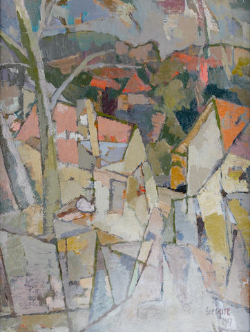 Gregoire Johannes Boonzaier (South African, 1909-2005) 'Houses in Pink and Grey', Johannesburg