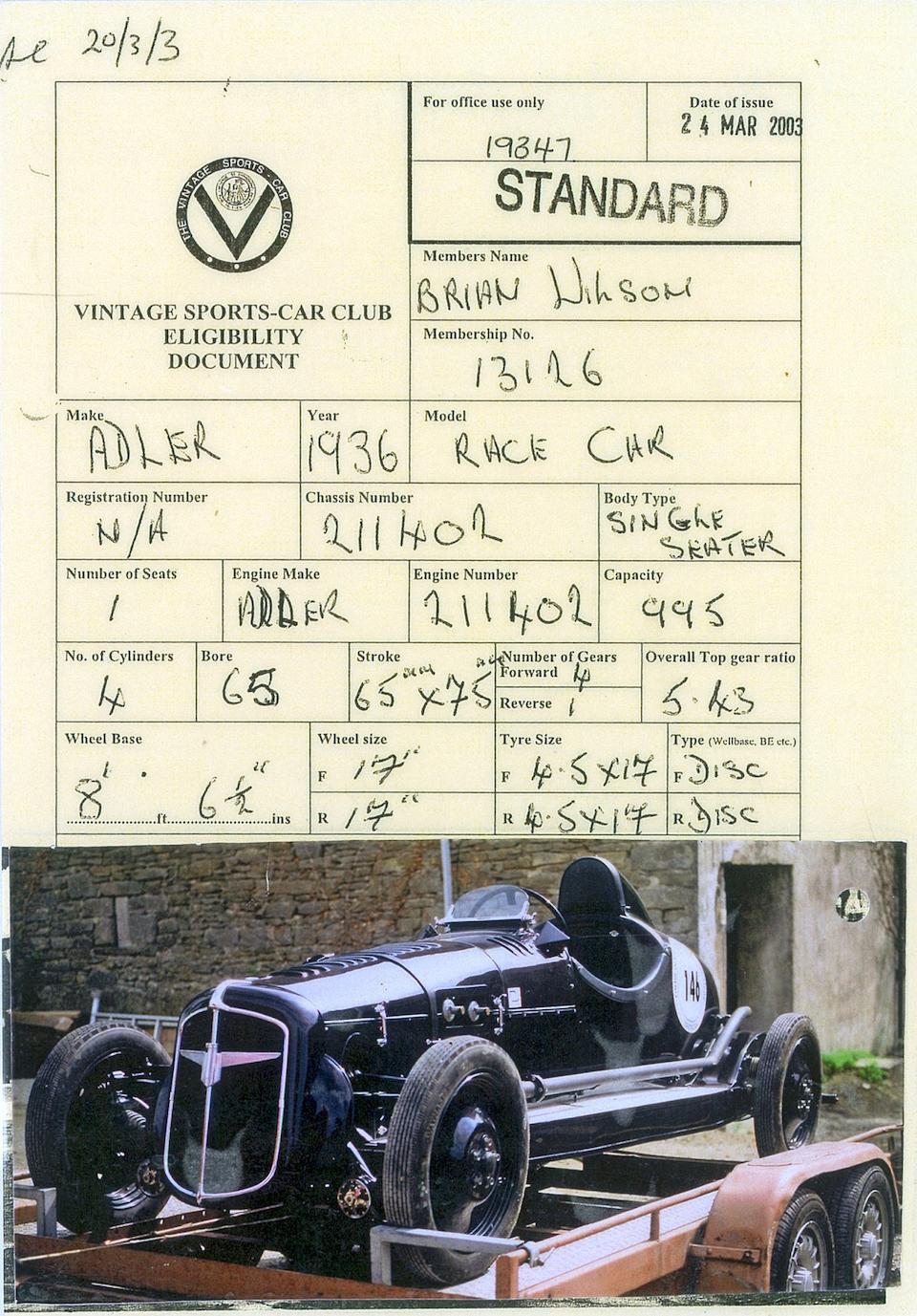 The ex-Charlie Manders,1936 Adler Monoposto  Chassis no. 211402 Engine no. 211402
