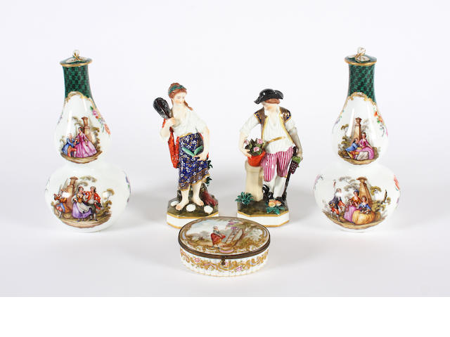 A pair of Dresden double gourd vases and covers, a pair of Samson figures and a continental porcelain box and cover 19th Century.